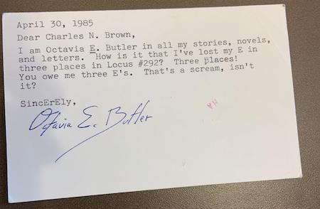 Postcard from Octavia E. Butler
